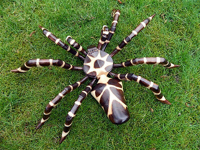 Wooden Spider Carving - Large Hand Carved Walking Spider Statue 60cm