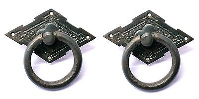 Superb Edwardian Victorian Style Solid Brass Ring Pulls Handles Set of 2