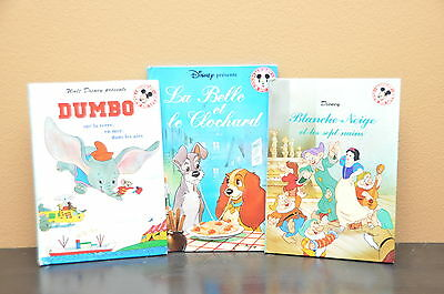 Set of 3 Vintage Disney Mickey Mouse Books in French 1994 Snow White Dumbo Lady