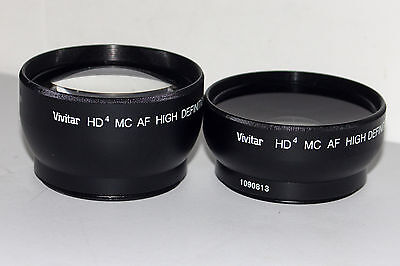 52 mm Vivitar 2.2x & 0.43x HD4 MC AF Telephoto & Wide Angle Converters Excellent