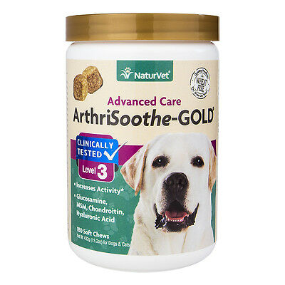 NaturVet ArthriSoothe Dog Cat aches Joint Pain GOLD Lvl 3 Soft Chews 180 ct