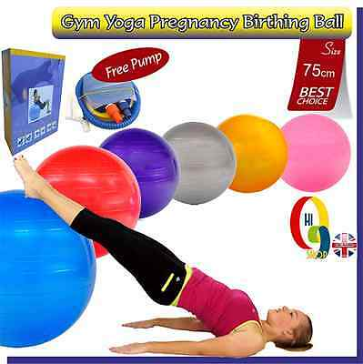 Exercise Fitness GYM Yoga, Pregnancy Birthing Aerobic Ball SIZE 75cm + Free Pump