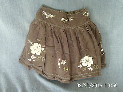 Girls 11 Years - Brown Cord Short Flared Skirt - Embroidered Floral Pattern - TU