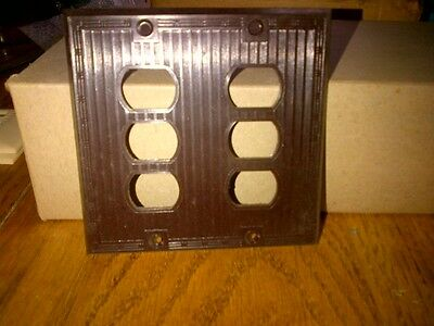 Brown (Bakelite?) Antique switch/receptacle plate, triple opening, 2 gang,