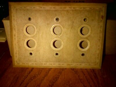 Ivory (Bakelite?) Antique switch plate,Leviton, 3 gang, 6 switch