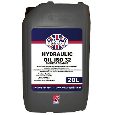 Biodegradable Hydraulic Oil ISO 32 Fluid 20L 20 Litres Bio Oil VG32