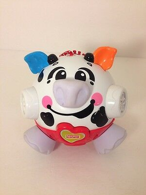 Fisher Price Bounce & Giggle Vibrating White Cow Bumble Ball