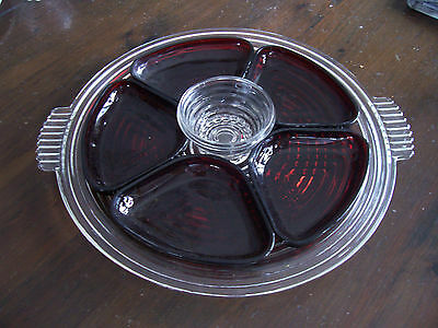 Mamhattan relish tray with ruby red inserts