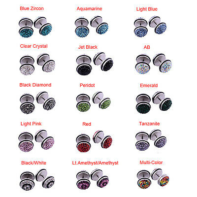 PAIR 16G Stainless Steel Double Side Crystal Paved Gemstones Cheater Fake Plugs