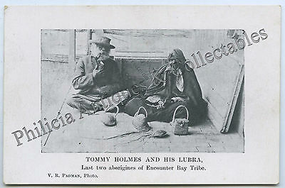 C1910 PT NPU SCARCE POSTCARD TOMMY HOLMES & WIFE LAST TWO ABORIGINES FROM j26