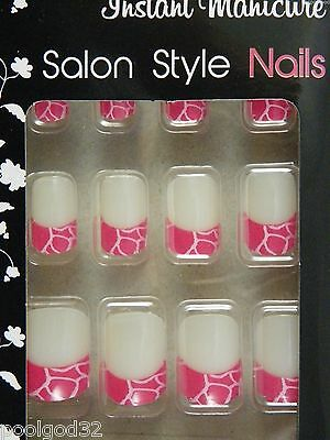 instant manicure salon French tip cracked animal print glue artificial nails