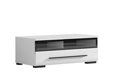 White Gloss TV Cabinet TV Unit Entertainment Stand Glass Drawer 100 cm 37 Fever