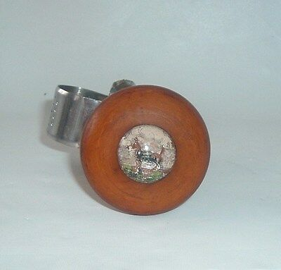 vtg suicide steering wheel knob brown swirl color with picture of scotty terrior