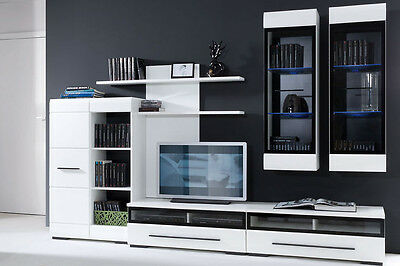 White Gloss Modern Living Room Furniture Set LED Wall Unit TV Cabinets Fever 2