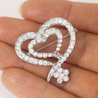 #P928A Bridal Wedding Dual Heart Flower Deluxe Clear Crystal Pin Brooch