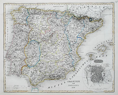 1849 Spain & Portugal Madrid Genuine Antique Map Hand Colouring Meyer