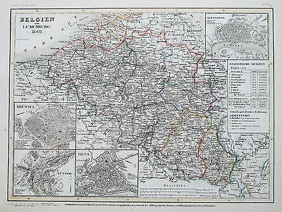1849 Belgium & Luxemburg Genuine Antique Map Hand Colouring Meyer