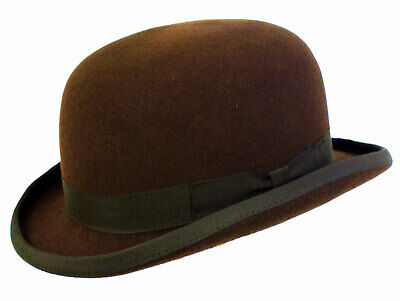 Wool Hand Made Quality Round Top Hard Bowler Hat in BROWN With Satin Lining