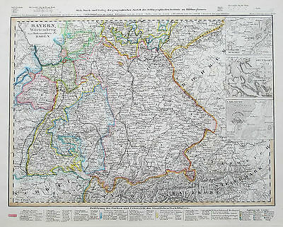 1849-52 Germany Bayern Wurtemberg Baden Genuine Antique Map Meyer Hand Coloured