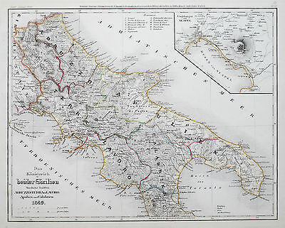 1849 Italy Naples Genuine Antique Map Meyer Hand Coloured