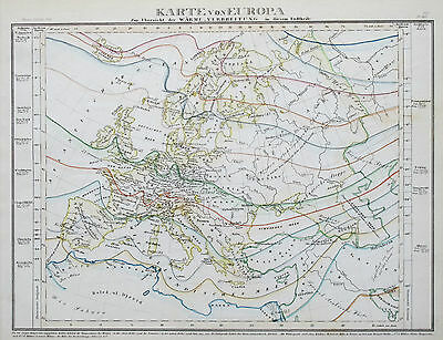 1849 -52 Europe Isothermal Heat Distribution Antique Map Meyer Hand Coloured