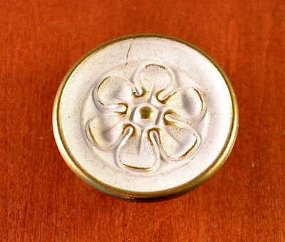 "Vintage MID-CENTURY Large 2"" White & Brass FLOWER Furniture Knob ""Cottage"""