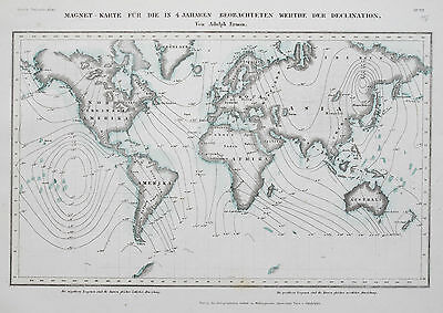 1849 -52 World of Magnetic Delination Genuine Antique Map Meyer