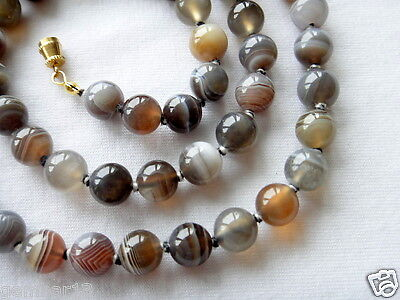 "Botswana Agate Necklace 8mm 24"" Hand Knotted 8 mm Beads Banded agate Therapeutic"