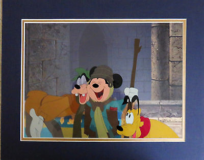 Disney Mickey Mouse Pluto Goofy Prince & the Pauper  Hand-painted Cel