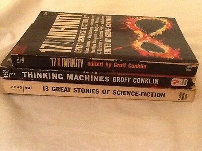 Lot of 3 Vintage Sci-Fi Short Stories books edited by Groff Conklin 1955, 1962-3
