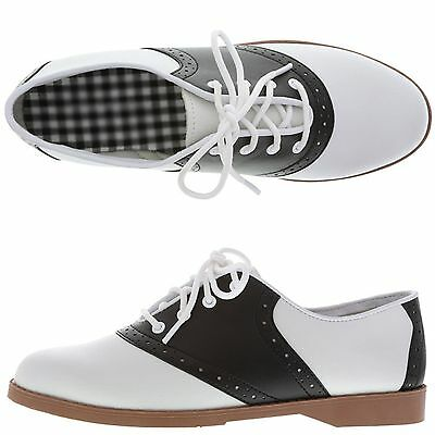 Womens 50'S Style Black & White Saddle Shoes ~ All Sizes (Run Small) New Nwob