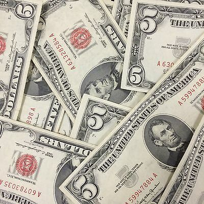 1963 1953 Red Seal $5 Five Dollar Notes! Large Lot Of Circulated US Currency!