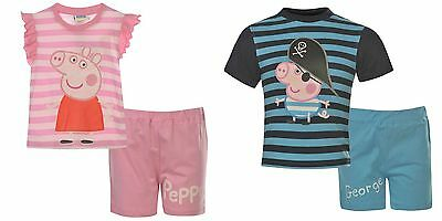 Girls Peppa Pig / Boys George Pirate Fancy Dress T-Shirt Shorts Set~ 1-8 years