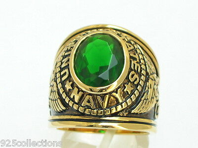 12x10 mm United States Navy Military May Green Emerald Stone Men Ring Size 7-15