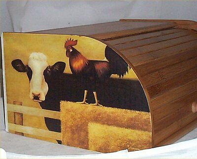 Cow Rooster Bread Box Bamboo Wood Country Farm Kitchen Roll Top Lodge Decor