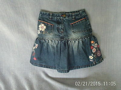 Girls 5 Years - Blue Denim Skirt - Floral Embroidery - Next