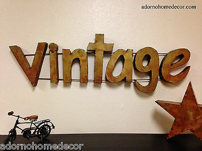 Rustic Metal Vintage Sign Wall Decor Industrial Antique Recycled Unique Rust Art