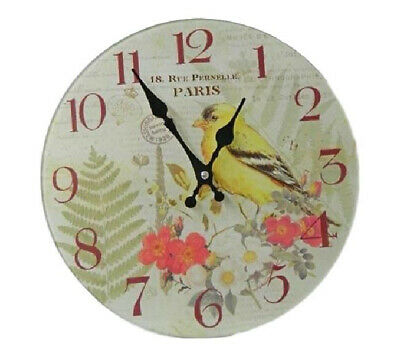 Clock French Country Vintage Inspired Wall Clocks Time Paris Yellow Bird Made...