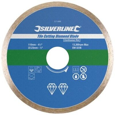 Silverline Tile Cutting Diamond Disc 110mm x 22.2mm Continuous Rim Blade