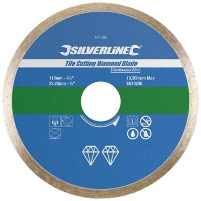 Tile Cutting Diamond Disc110mm x 22.2mm Silverline Continuous Rim Diamond Blade