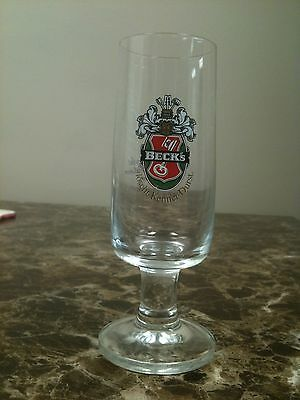 Beck's Pedestal Beer Glass - All Text is in German Front and Back