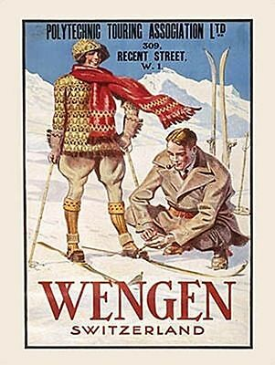 Wengen Swiss Alps Skiing Snow Holiday Old Classic Travel Small Metal Tin Sign