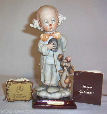 """GIUSEPPE ARMANI 1984 FLORENCE Little Clown Boy with Dog WITH TAGS 7-3/4"""" tall"""