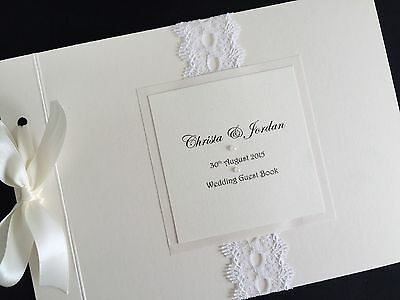 Personalised Handmade Vintage Rustic Lace Wedding Guest Signing Book