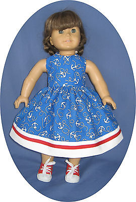"""For American Girl Doll Clothes 4TH OF JULY Dress Red, white blue anchor 18"""" doll"""