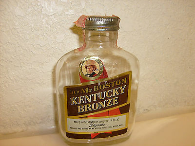 Old Mr Boston Kentucky Bronze Whiskey 1/2 pint old bottle from the 40's 50'S