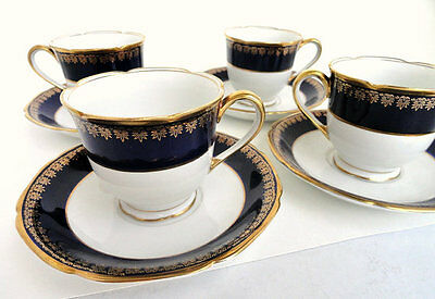 Vintage Kokura Ware Cobalt Blue and White Demitasse Porcelain Teacup Sets (4)