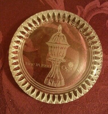 Carriage House Glass West Virginia Paperweight etched June 18, 1993 Oglebay VGUC