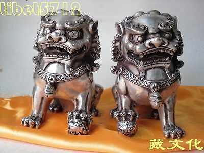 Bronze coated silver foo dog lion statue pair 13 cm