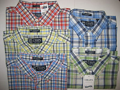 CHAPS MENS PLAID BUTTON DOWN SHORT SLEEVE SHIRTS - CUSTOM FIT - NWT
